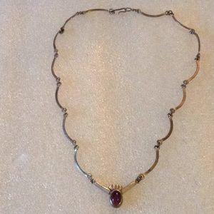 Antique 925 amethyst necklace